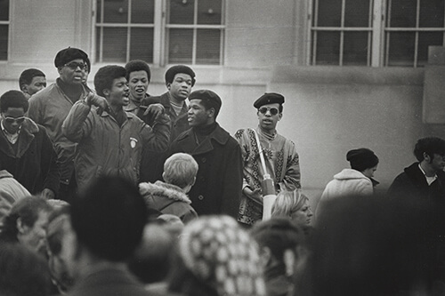 African American leaders of the student strike hold a rally outdoors. Photo: UW Archives