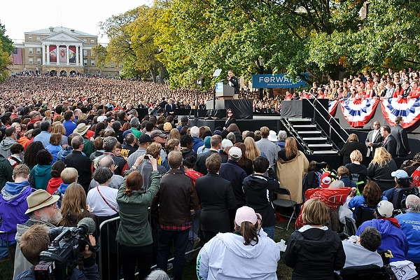 Standing shoulder-to-shoulder -- starting at Bascom Hall and flowing downward -- a sea of spectators filled Bascom Hill and listened to President Barack Obama during his stop in Madison.