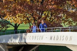 Photo: Pedestrians on bridge