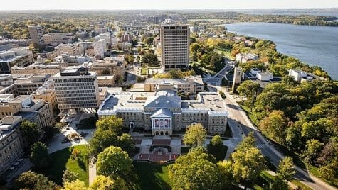 Bascom Hall, Bascom Hill and the central University of Wisconsin-Madison campus are pictured in an aerial view during autumn on Oct. 12, 2013.