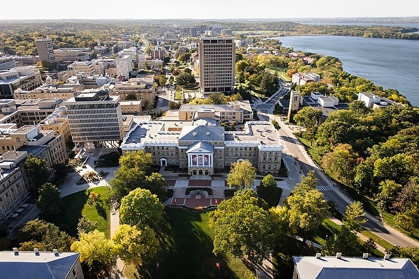 Photo: Central campus in aerial view with Bascom Hall in center