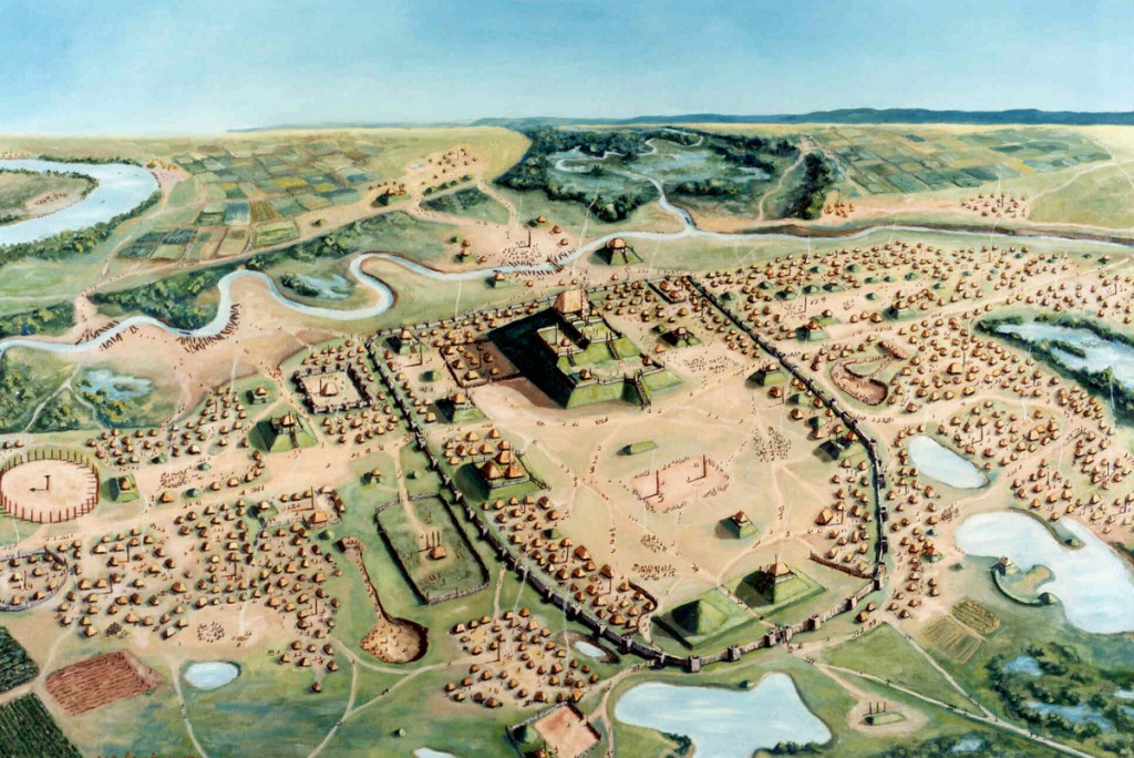 A painting of Cahokia Mounds State Historic site by William R. Iseminger. Horseshoe Lake, where core sediments give a timeline of flooding from the Mississippi River, can be seen in the upper left. Courtesy of William R. Iseminger