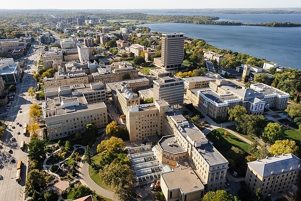 The University of Wisconsin–Madison, whose campus is pictured, is 10th among public institutions in U.S. News & World Report's latest college rankings.