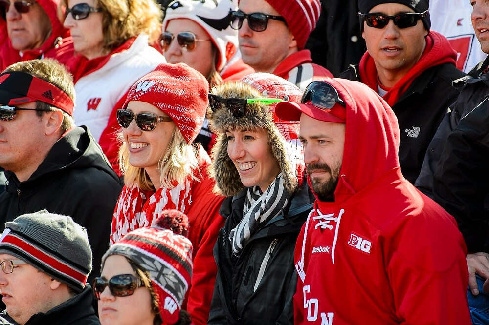 On a bright but chilly day at Camp Randall Stadium, warm headgear was not out of place in the crowd of more than 80,000.