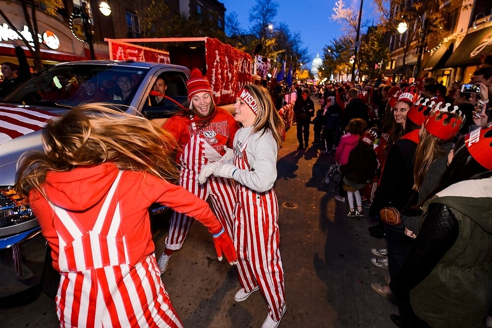 Several revelers made a fall fashion statement in the striped bib overalls that have become standard gear for many a well-dressed fan.