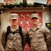 Sam Soderberg, right, and a fellow serviceman celebrate the holidays while on active duty in the United Arab Emirates in 2012.