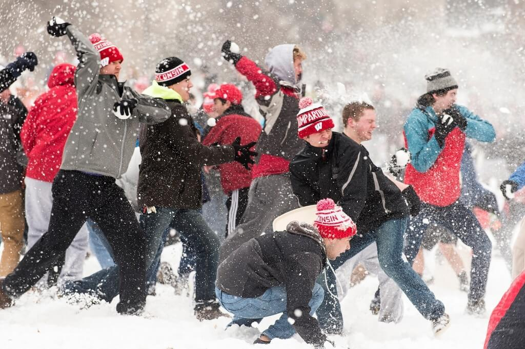 Snowball fight on Bascom Hill