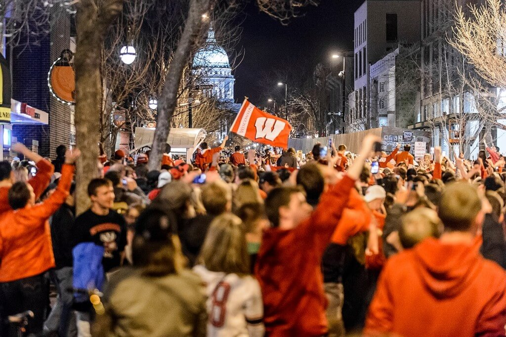 Over-the-moon fans gather on State Street to celebrate the Badgers' win against undefeated Kentucky in the NCAA Final Four game in April.