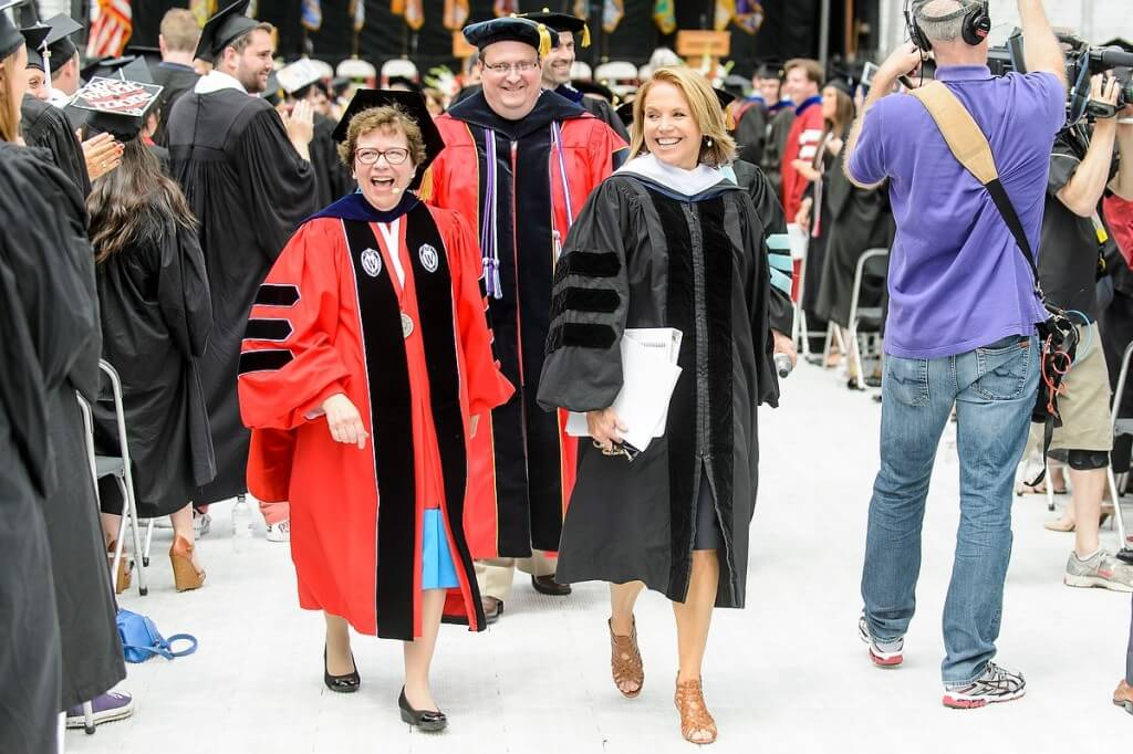 Chancellor Rebecca Blank and commencement speaker Katie Couric share big smiles along with the 5,800 students — now UW alumni — who received their bachelor's and master's degrees during a ceremony at Camp Randall Stadium.