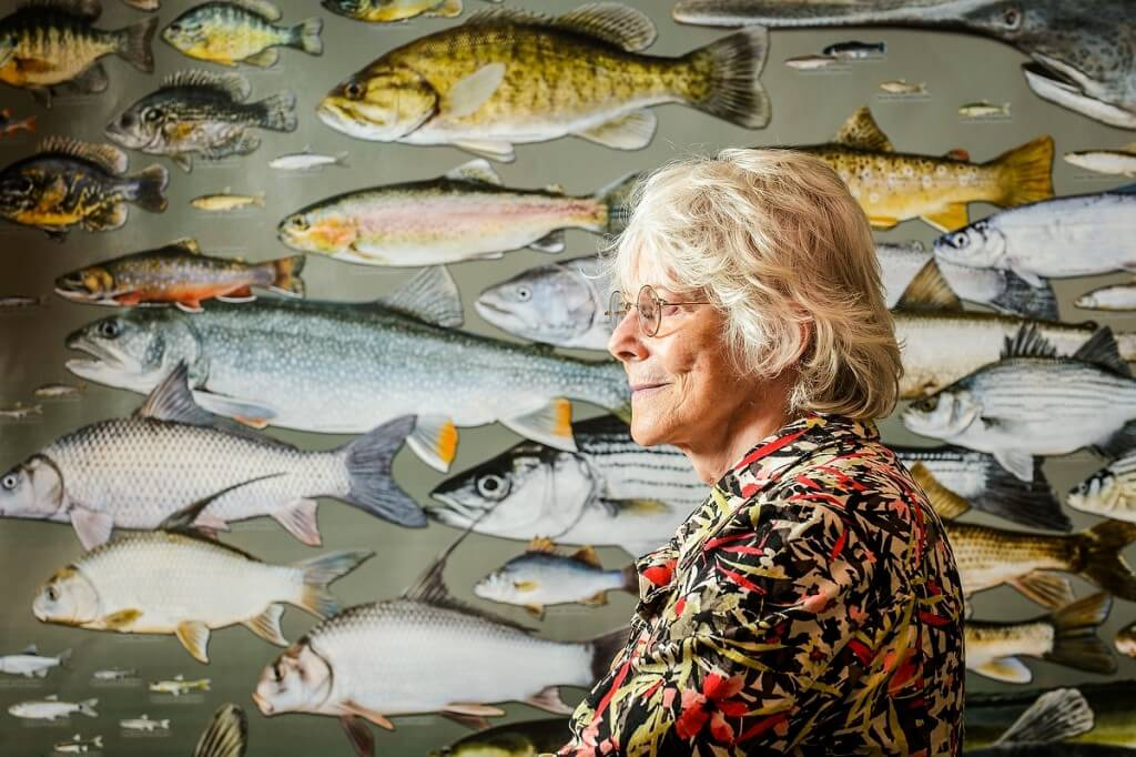There's everything fishy about Kandis Elliot's talent, which the emerita senior artist has employed to create posters with life-size illustrations of Wisconsin's fish species.