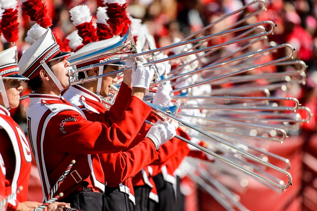 Seventy-six trombones? Not quite, but no one is counting anything but touchdowns as the UW Marching Band gives another stirring performance at the Homecoming game in October. (The Badgers won.)