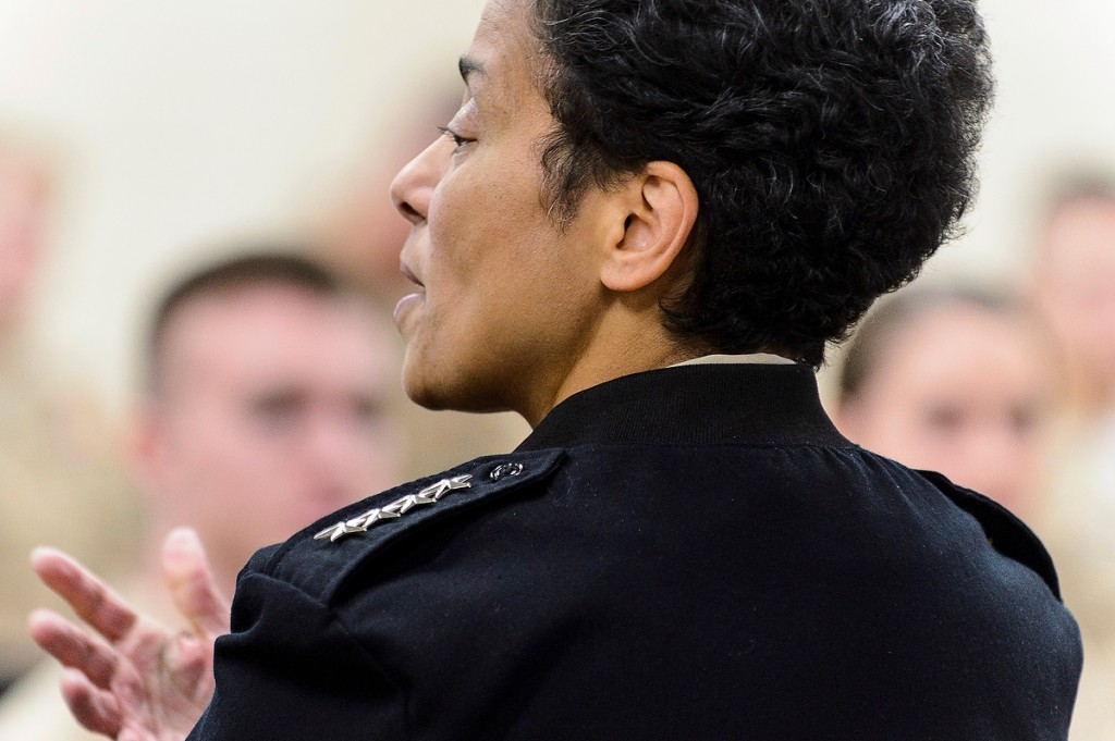 A four-star visit: Admiral Michelle Howard, the U.S. Navy's vice chief of naval operations, speaks to 50 midshipmen in the campus's Naval ROTC unit.
