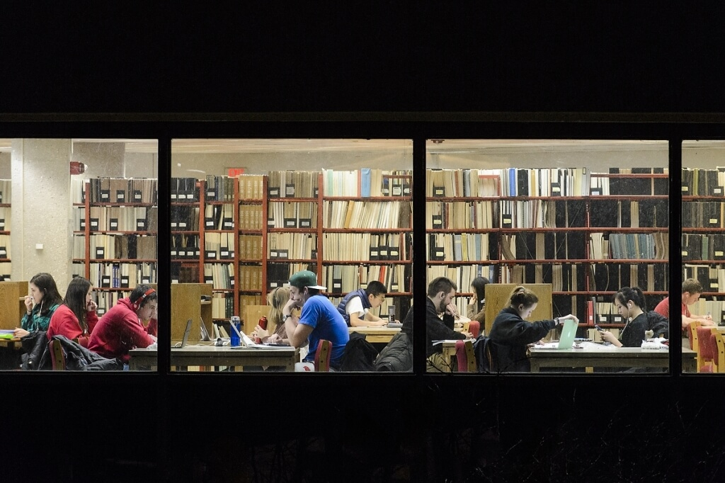 As the semester draws to a close, students study inside Wendt Library at the University of Wisconsin-Madison on Dec. 6, 2015.