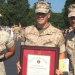 Michael Donovan (center), an electrical engineering and mathematics major originally from Appleton, has been awarded the Marine Corps Commandant's Trophy as the top candidate at the U.S. Marine Corps Officer Candidates School.