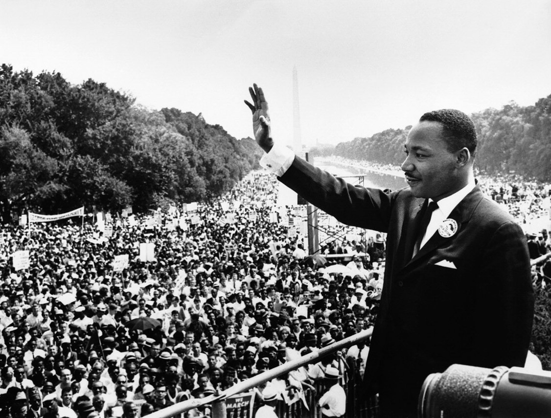 "Martin Luther King Jr. addresses a crowd from the steps of the Lincoln Memorial, where he delivered his famous, ""I Have a Dream,"" speech during the Aug. 28, 1963, march on Washington, D.C."