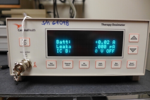 An instrument called an electrometer, owned by a client and used to measure radiation doses, is under calibration at the lab.