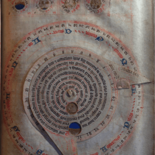 This device, called a volvelle, is similar to a paper version of Chaucer's astrolabe. It allows the user to move the pointers to calculate the position of the moon.