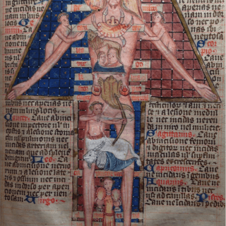 The positions of the stars supposedly ruled the human body. Many medical texts include this diagram as a practical mnemonic. Astrological signs drawn directly on a human image – such as the crab and lion, placed on the chest – help users remember information such as the best months for bloodletting from those areas of the body.