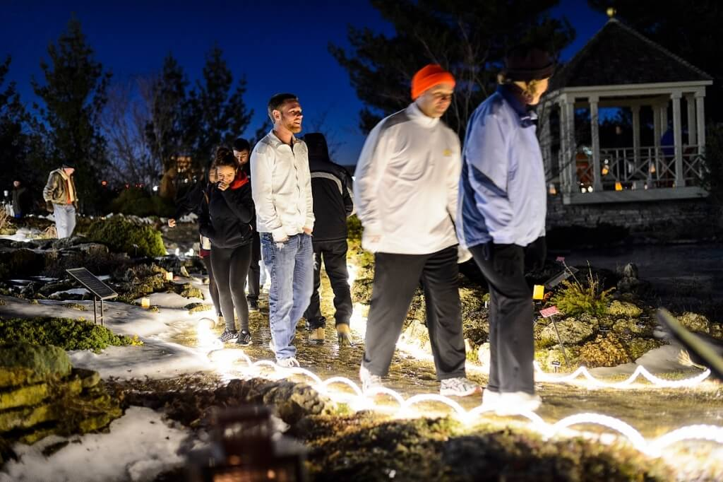 High winds didn't deter hundreds of people from enjoying a nighttime walk amid six custom-made luminaries and lanterns on display at the Allen Centennial Garden the evening of Feb. 19. The free, public-art event, called Luminous, included a bonfire and warm treats.