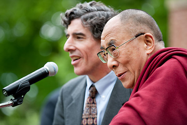 Richard Davidson, left, introduces His Holiness the 14th Dalai Lama of Tibet at Olin House on May 16, 2010.