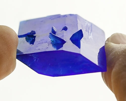 """A copper sulfate (""""bluestone"""") crystal from the 2014 Wisconsin Crystal Growing Contest."""