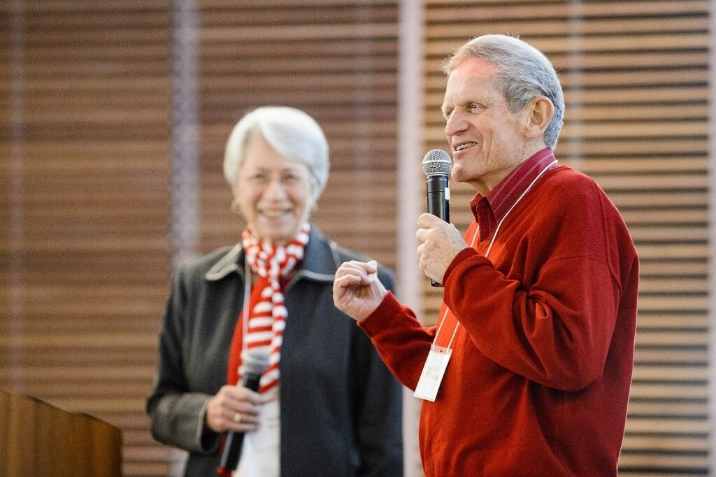 "Philanthropists John and Tashia Morgridge spoke about the ""whys"" that drove them to create the center."
