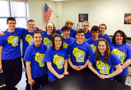 2014 participants from Nekoosa (Wisconsin) High School, wearing their Crystal Growing Contest t-shirts.