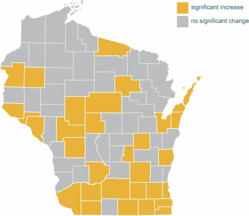 Poverty in the 2010-2014 period increased significantly in 31 of the 72 Wisconsin counties, including 11 of our 15 most populous counties. No county had a significant decrease.