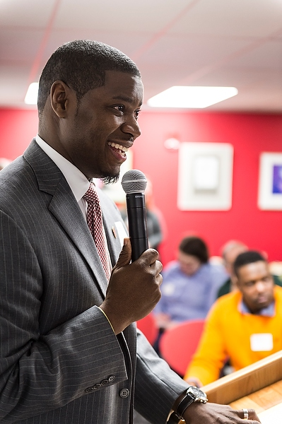 Everett Mitchell speaks at the 2015 open house.
