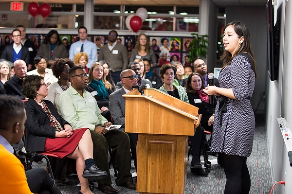 Julissa Ventura makes opening remarks during an open house for the UW South Madison Partnership in February 2015.