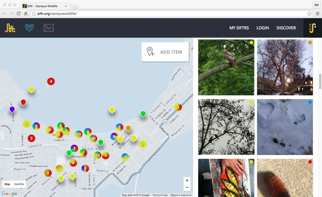 Siftr users set up pages around topics — in this case, urban wildlife — and participants upload images according to a direction set by the person organizing a Siftr. The page then generates a map, placing whatever object or phenomenon in its spatial context.