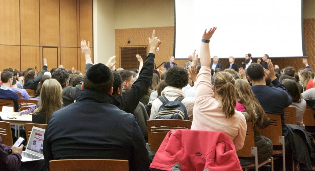 About 200 students participated in a meeting at Gordon Dining and Event Center in response to an anti-Semitic incident on campus.