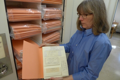 Mary Ann Feist, curator at the Wisconsin State Herbarium, with folders holding the George Washington Carver plant disease fungus samples discovered Feb. 8, 2016, ready for databasing.