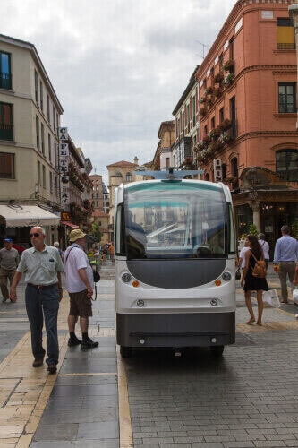 This driverless minibus being tested in Spain is similar to the type of autonomous transit vehicle that researchers in UW–Madison's Traffic Operations and Safety (TOPS) Laboratory and the City of Madison envision eventually bringing to Madison through the Smart City Challenge.