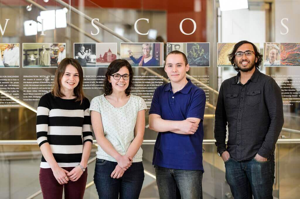 From left to right, undergraduates Bailey G. Flanigan, Hannah M. Mast, Idris Boukahil and Thejas S. Wesley are UW–Madison's recipients of the 2016 Barry M. Goldwater Scholarship for undergraduate excellence in the sciences.
