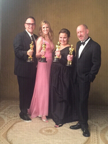 """Spotlight"" producers Michael Sugar, Blye Pagon Faust, Nicole Rocklin and Steve Golin."
