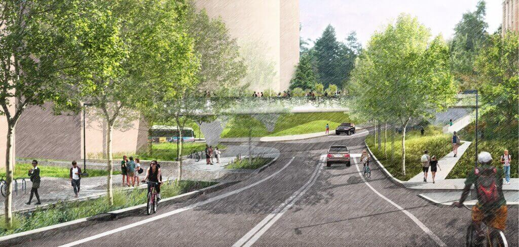 Illustration: Proposed pedestrian bridge over Charter Street