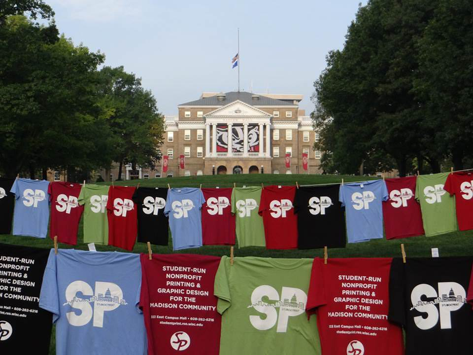Photo: Screen printed t-shirts in front of Bascom Hall