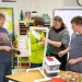North Crawford students test a classroom-scale wind turbine as part of lessons on energy their teacher, Lisa Andresen, second from right, created after attending courses for educators at the Wisconsin Energy Institute.