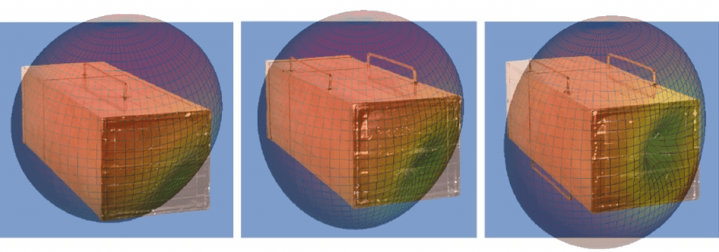 UW–Madison engineers built scale models of military platforms to test the efficiency of radio broadcasts. Heat maps of the signal intensity overlaid onto photos of the devices indicate that the low profile platforms transmit communications comparably to existing antennas.
