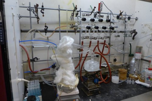 Photo: This apparatus is used to synthesize potential lithium-ion battery electrolytes.