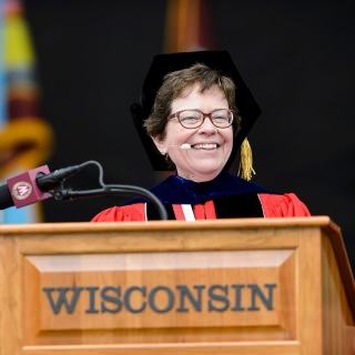 Chancellor Rebecca Blank addresses the graduates and their families and friends.