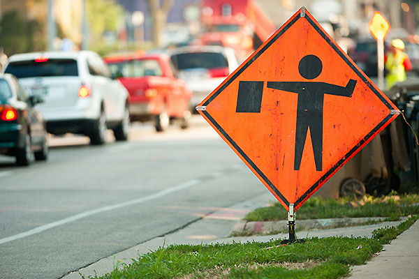 Photo: Orange street construction sign