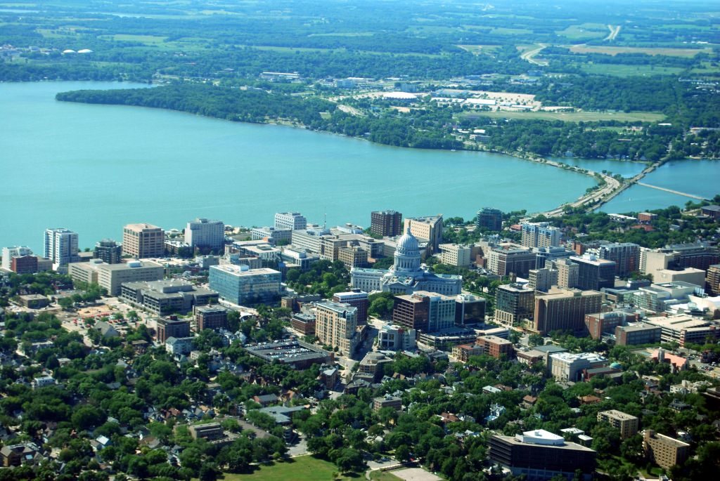 Photo: Aerial view of Madison isthmus