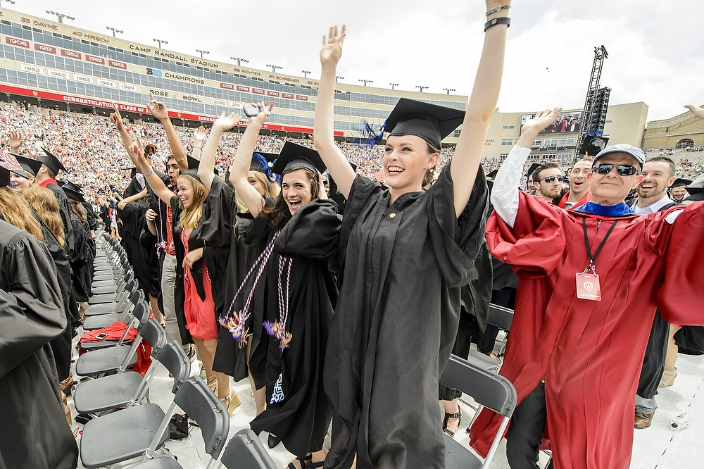 Photo: 2015 graduates in Camp Randall Stadium