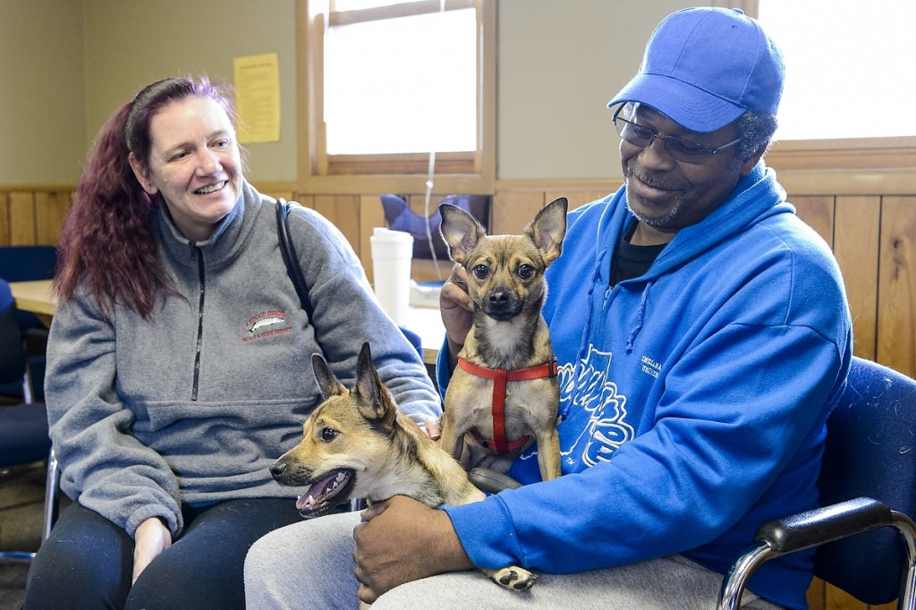 Owners Clarence (right) and Kelly wait with their dogs Ike (left) and Tina to see the vet at a Wisconsin Companion Animal Resources, Education and Social Services (WisCARES) clinic in Madison. WisCARES is one of the winners of this year's Ira and Ineva Reilly Baldwin Wisconsin Idea Endowment grants.