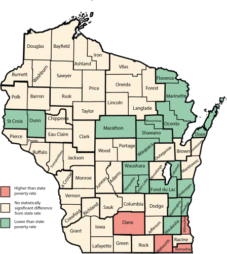 Graphic: Poverty map of Wisconsin counties