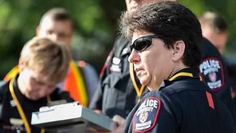 Photo: Sue Riseling at emergency response exercise