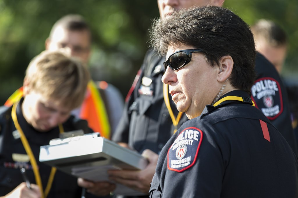 Photo: Sue Riseling at emergency exercise