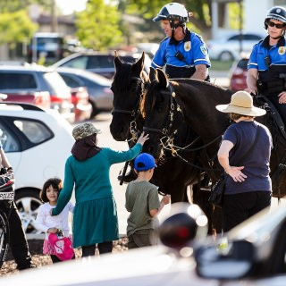 People visit with Madison Police officers and horses from the mounted patrol unit.